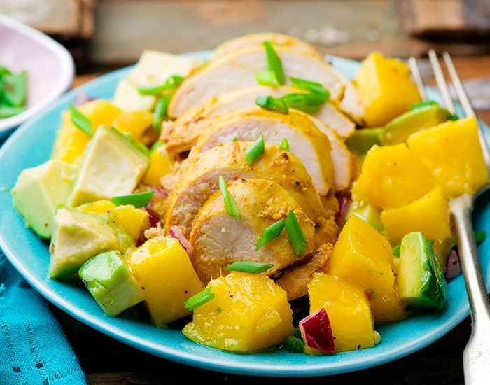 Grilled Chicken and Avocado Salad with Mango Dressing
