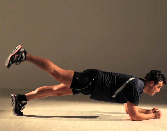 Plank With Leg Raise for Back Pain