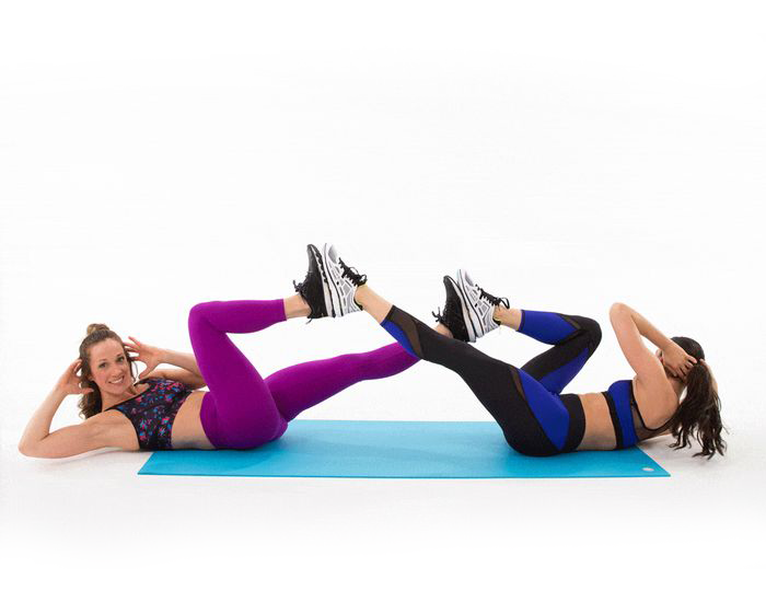 Partner Bicycle Crunches
