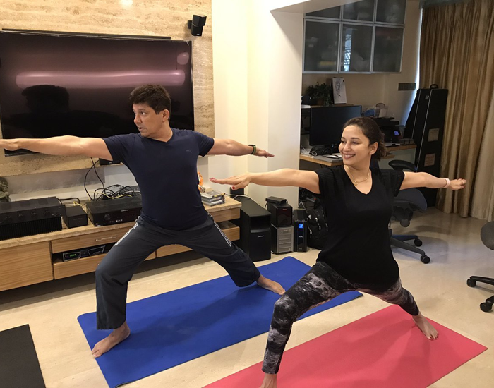 madhuri dixit yoga and workout at home