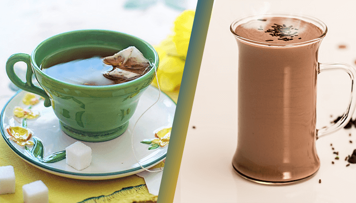 Green Tea or Chocolate Milk