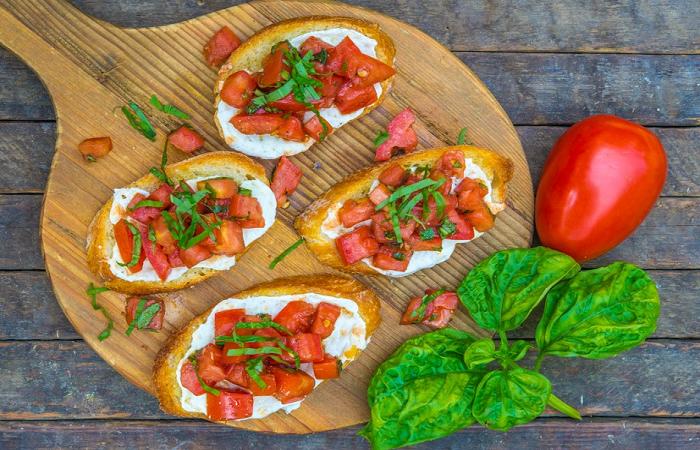 Tomato basil mozzarella toast